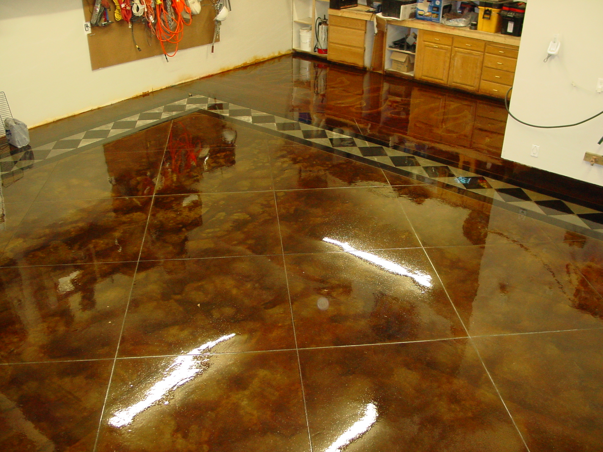Concrete Garage Floor : Stained concrete garage schroder omaha ne